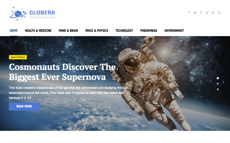Globera science magazine theme
