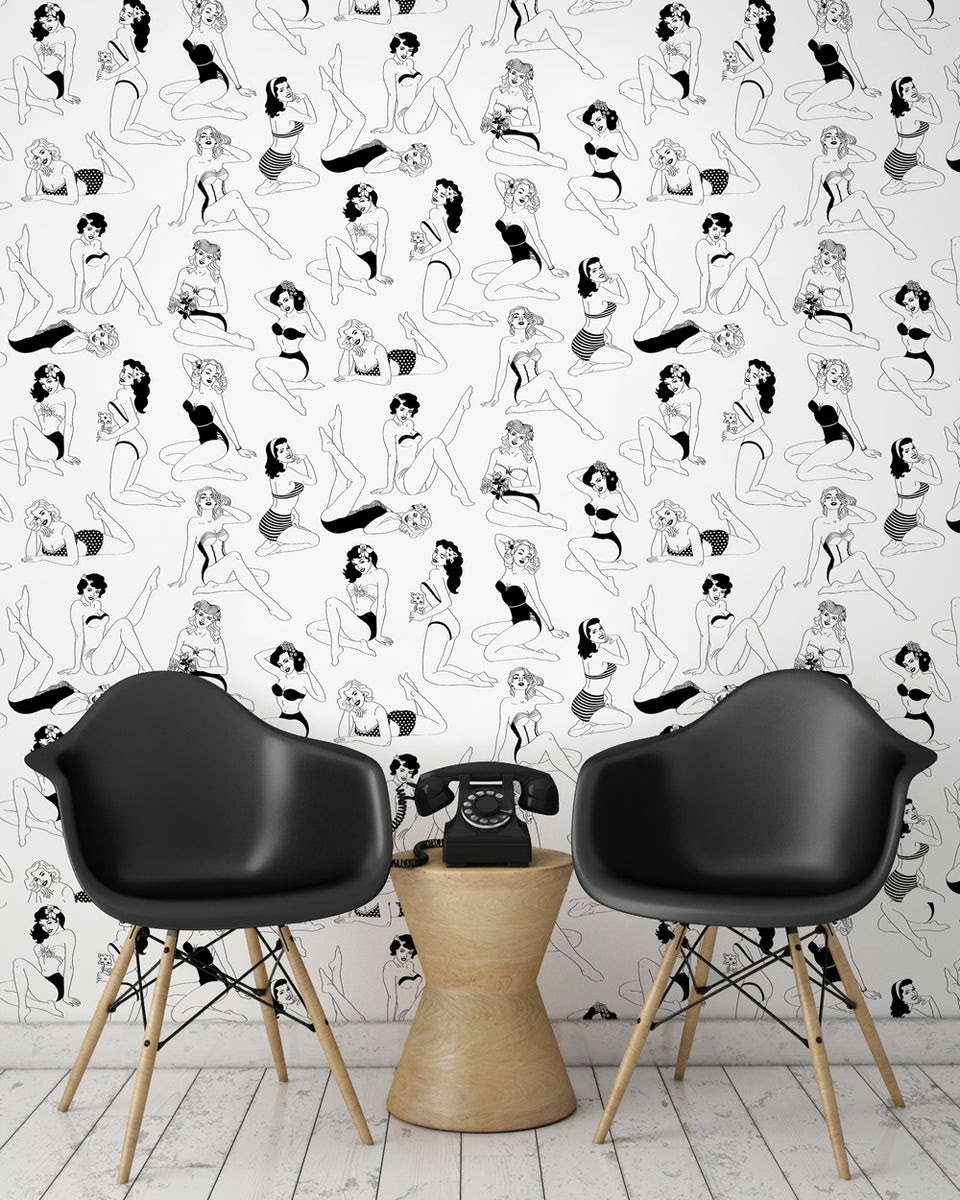 Pin Up B W Wallpaper 3m Dupenny