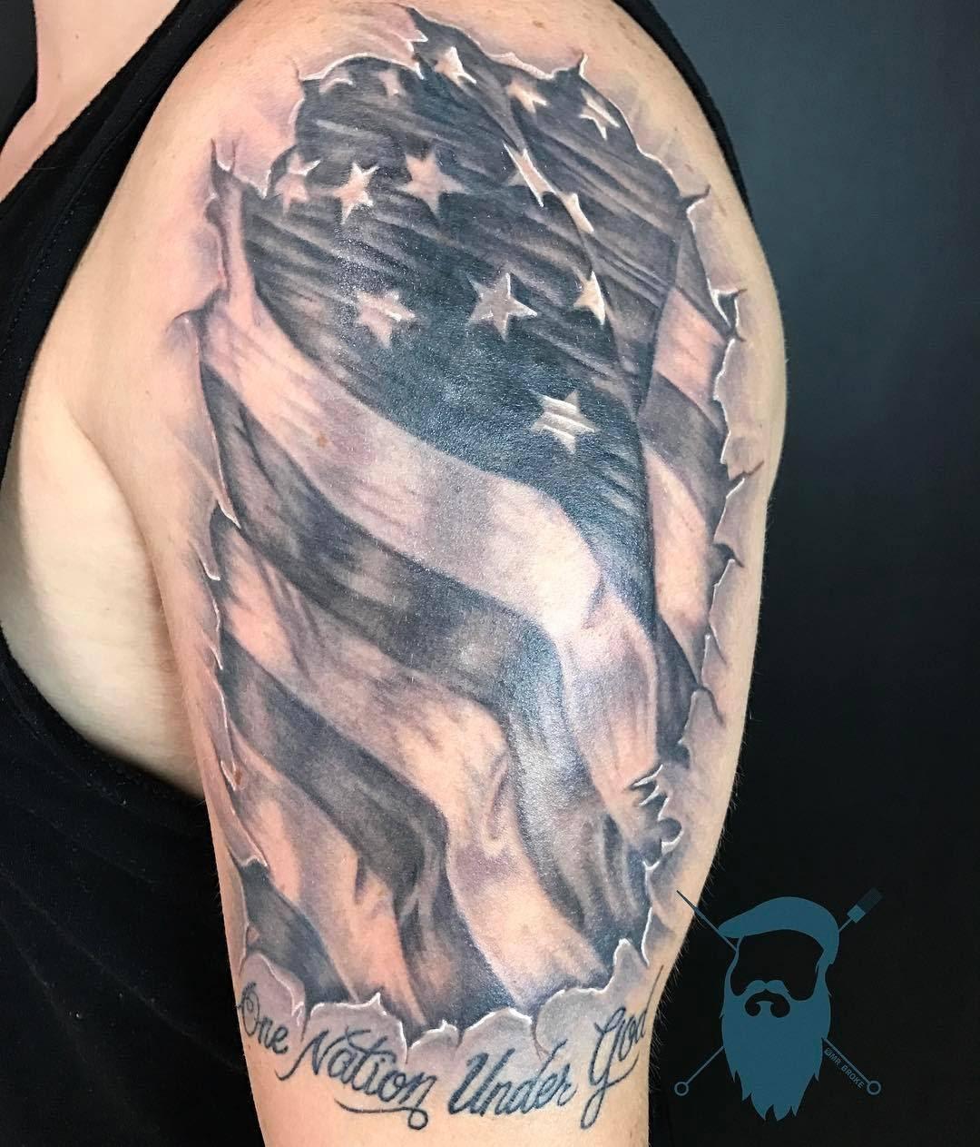 American Flag Tattoos By Aaron Broke