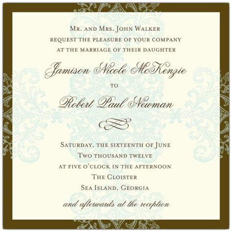 Wedding Invitations Formal Pattern Blue Square   PaperStyle