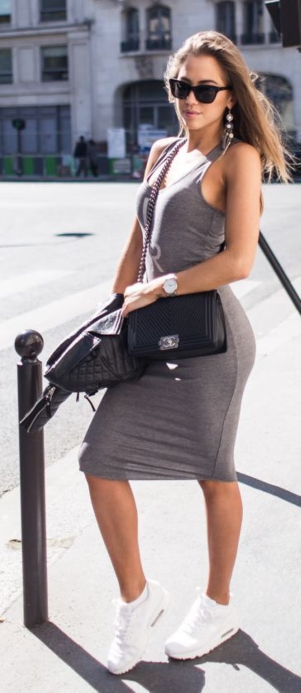 Sleeve bodycon dress with sneakers outfit out yacht korean