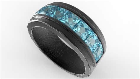 mens black gold channel set aquamarine wedding band