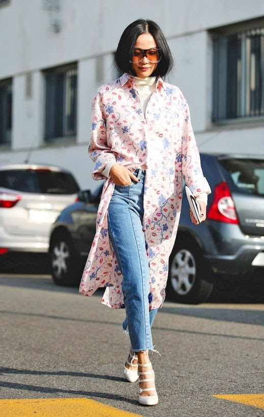 Le Fashion Blog Street Style Mfw Oversize Sunglasses Pink Shirtdress Turtleneck Jeans Strappy White Pumps Via Refinery29