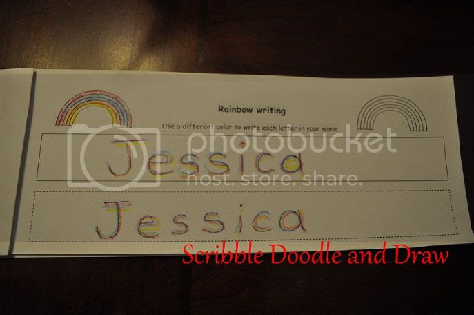 Learn to write your name booklet with rainbow writing