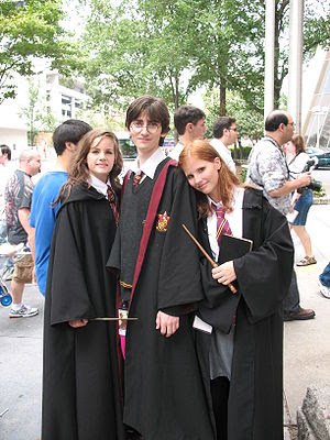 Harry Potter fans wearing Hogwarts uniform's r...