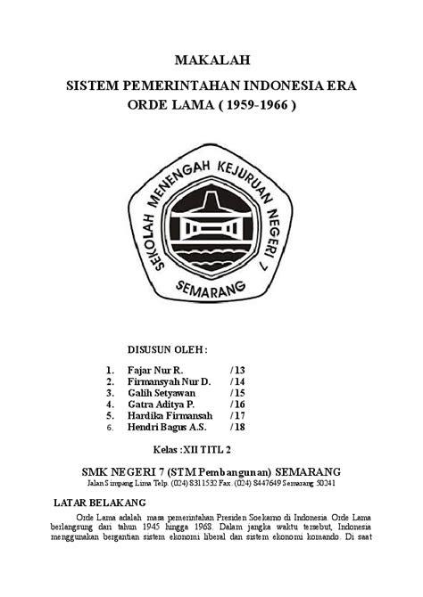 (DOC) MAKALAH SISTEM PEMERINTAHAN INDONESIA ERA ORDE LAMA