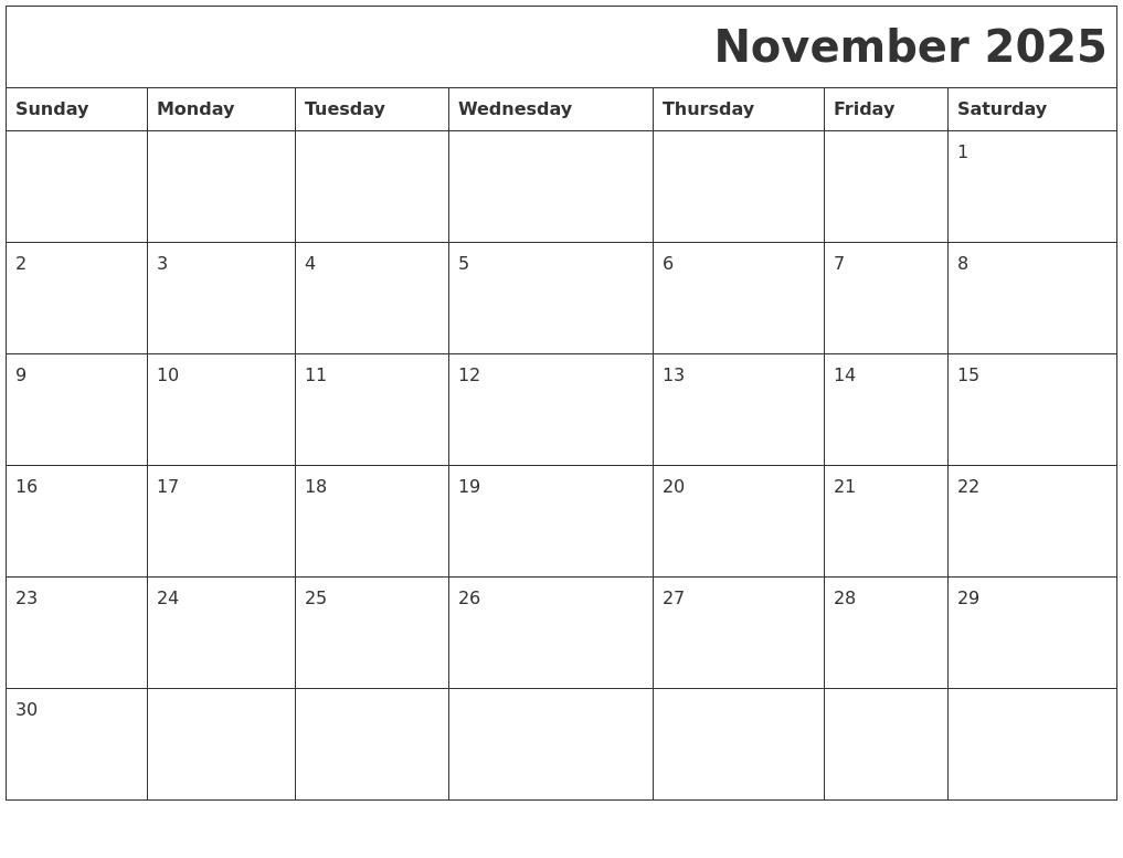november 2025 download calendar full weekday