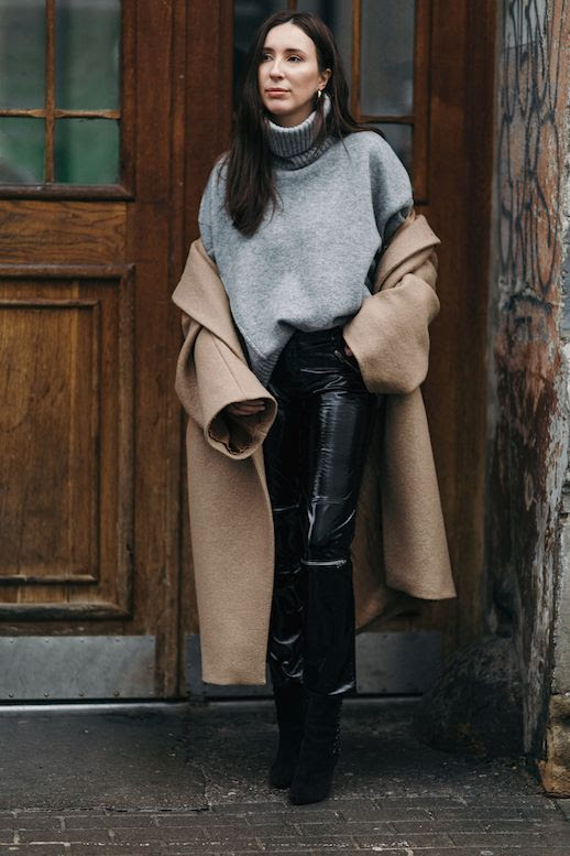Le Fashion Blog Oversized Gray Turtleneck Sweater Camel Coat Leather Pants Boots Via Gosiaboy