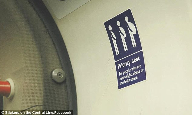Cheeky: Never mind mums-to-be, this seat is reserved for 'morbidly obese' passengers