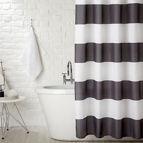 Buy John Lewis Stripe Shower Curtain, Monochrome online at John Lewis