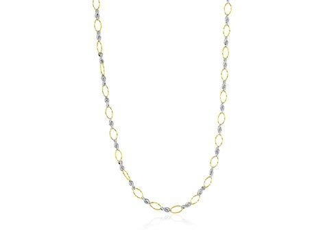 Rope Style Link and Textured Oval Chain Necklace in 14K