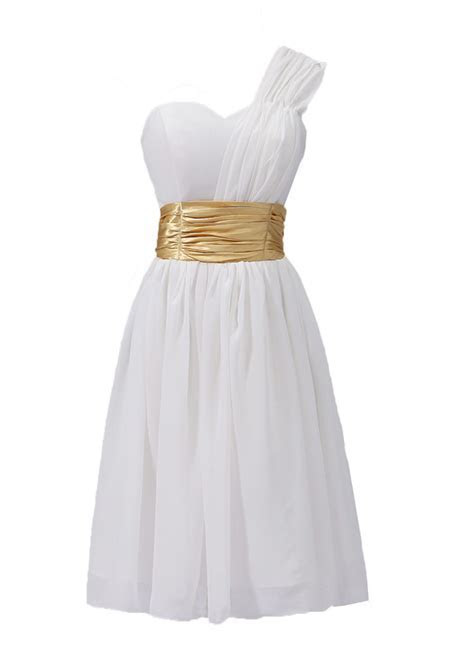 White Dress with Gold Belt Women Bridesmaid Dresses Short