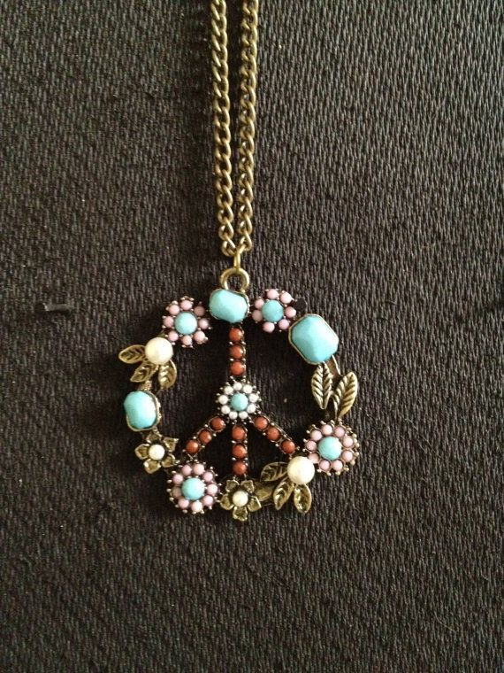 Hippie Peace Sign Necklace by ChooseYourPeace on Etsy, $23.00    Necklace for Sharon S.