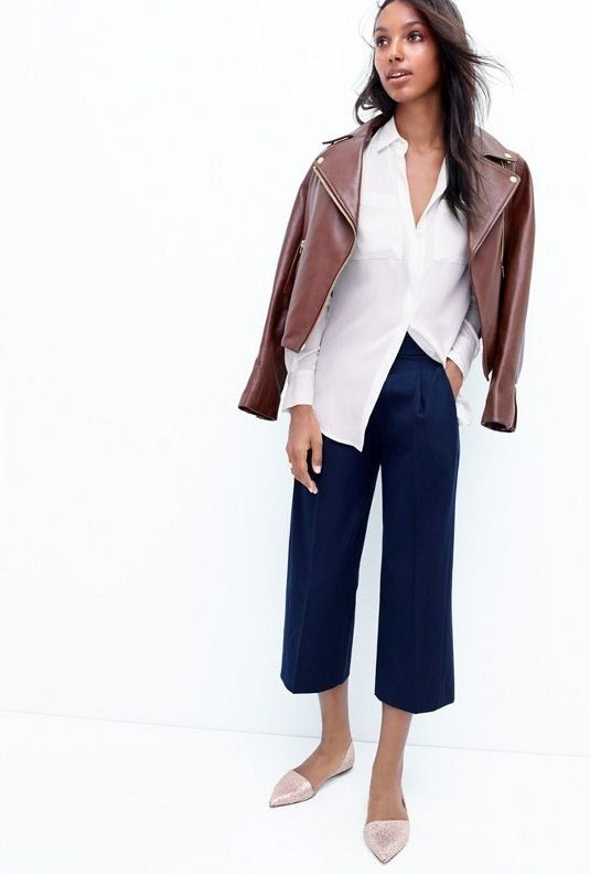 Le Fashion Blog Chic Easy Work Style Fall Looks Burgundy Leather Jacket White Shirt Navy Cropped Wide Leg Pants Culottes Glitter Dorsay Flats Via JCrew