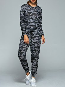 Active Camo Sweatshirt and Jogger Pants