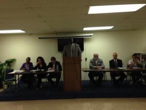 NESB members (from left) Mary Bennett, Grace Sergio, Donald Katz, Rev. Perry Simmons, Ross Danis, Christopher Cerf and Jose Leonardo
