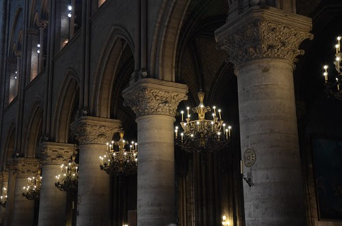 Notre Dame columns and chandeliers