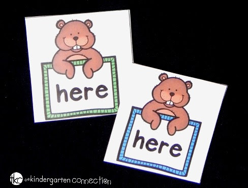 http://thekindergartenconnection.com/groundhog-sight-word-matching-game/