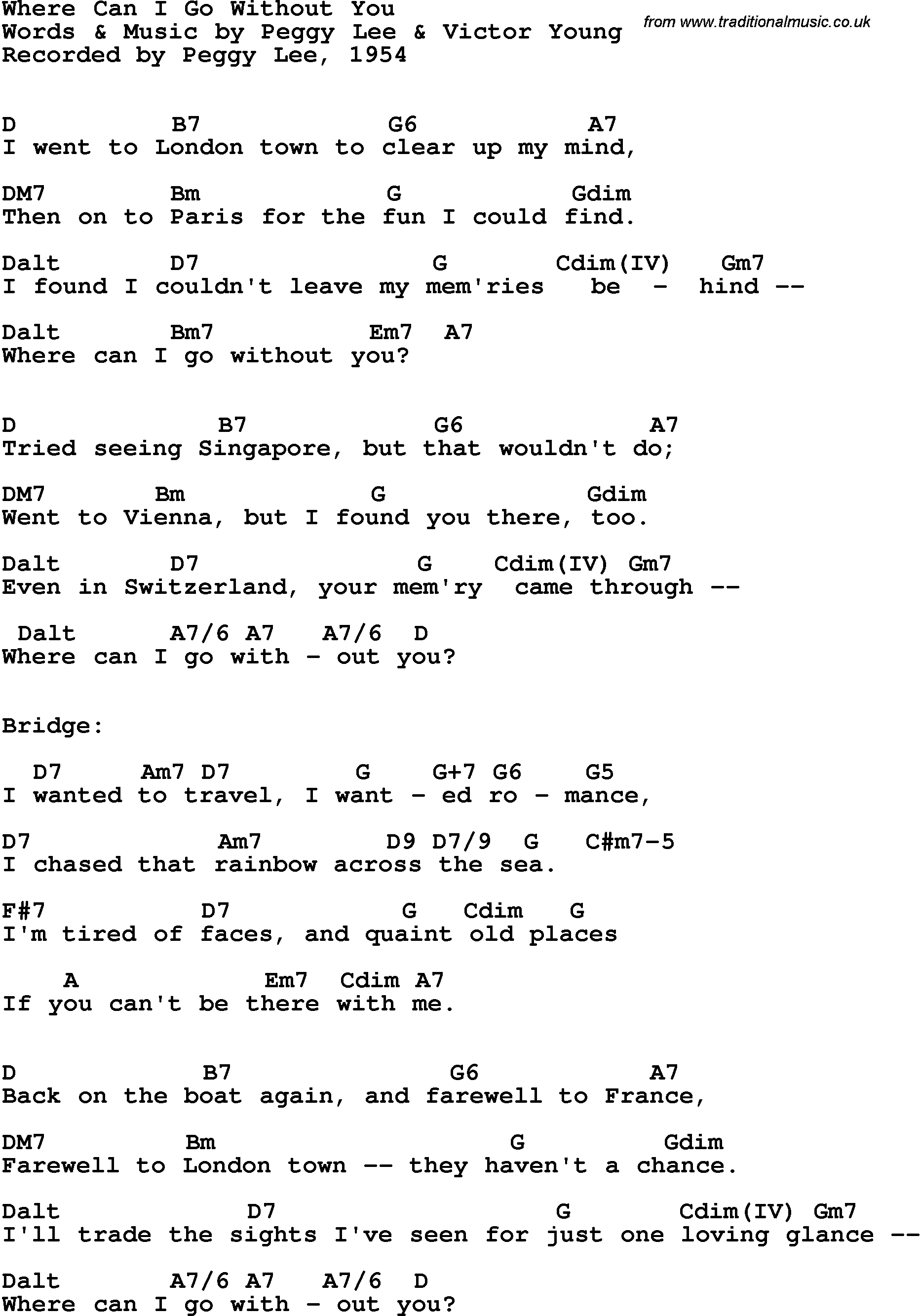 Song Lyrics With Guitar Chords For Where Can I Go Without You