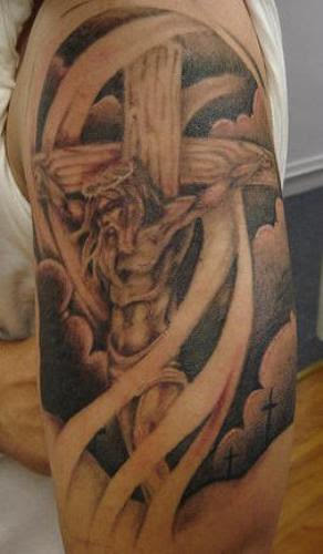 Jesus Cross Tattoo On Shoulder