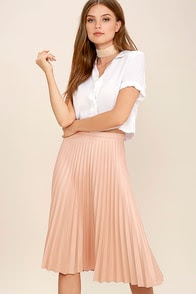 Like a Phenomenon Blush Pink Pleated Midi Skirt
