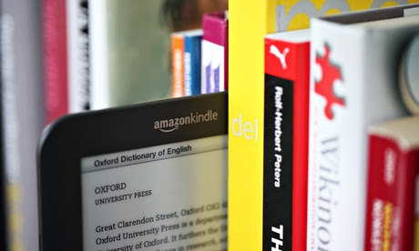Kindle on a bookshelf
