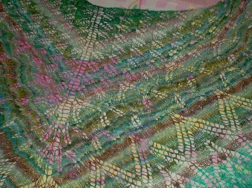 Knitted lace shawl Knitty Aeolian handspun silk stripes