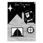 Cute santa with sack on roof black and white art greeting card