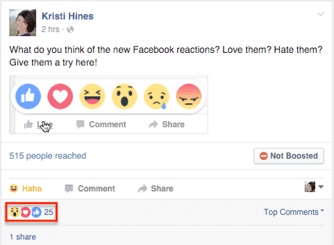 facebook reactions on a post