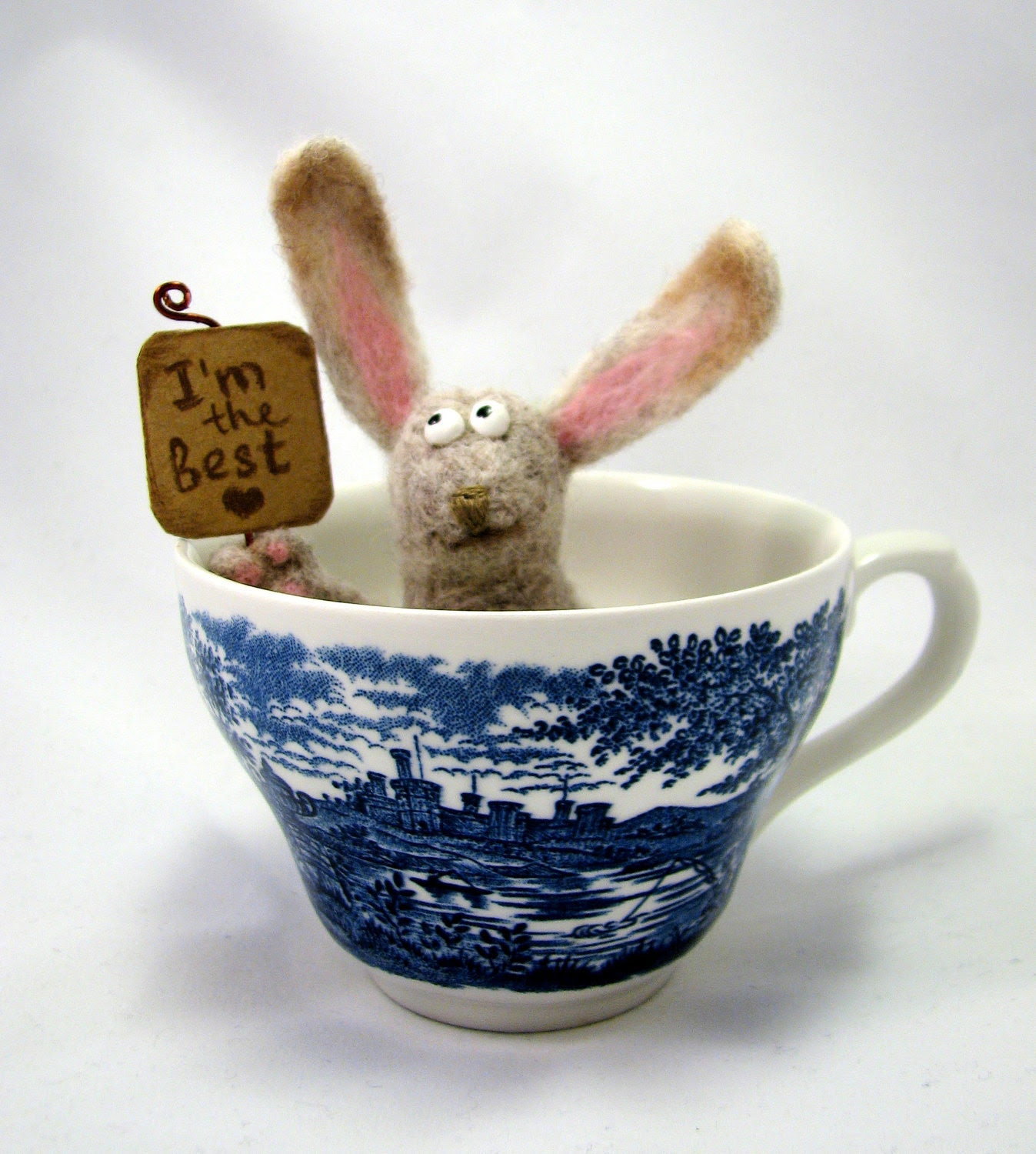 Needle Felted - Bunny, I'm the best in a gift box, Easter Bunny - Soft Sculpture, OOAK