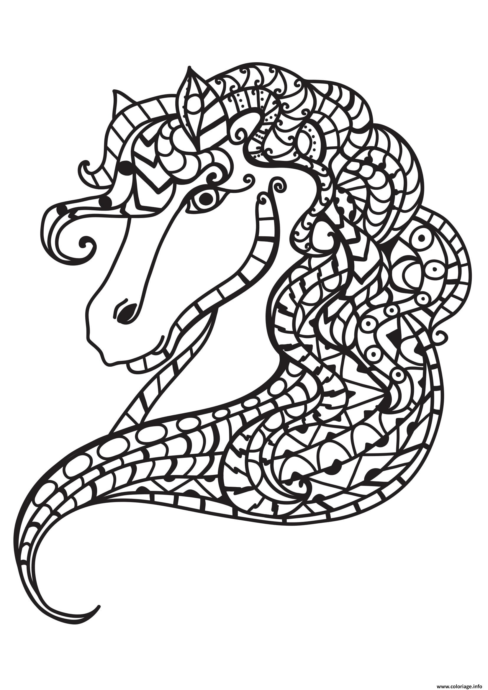 Coloriage Adulte Cheval Antistress 07 Jecoloriecom