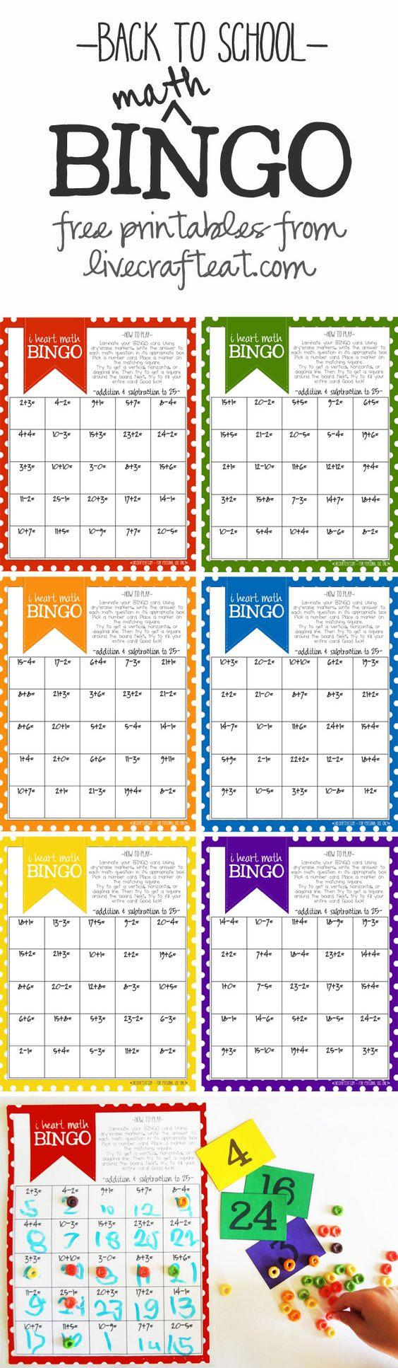 Math Bingo Printable For Kids - Free | For kids, Multiplication ...