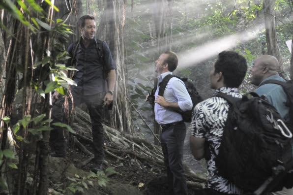 "Alex O'Loughlin as Steve McGarrett, Scott Caan as Danny ""Danno"" Williams, Daniel Dae Kim as Chin Ho Kelly, and Chi McBride as Captain Lou Grover"