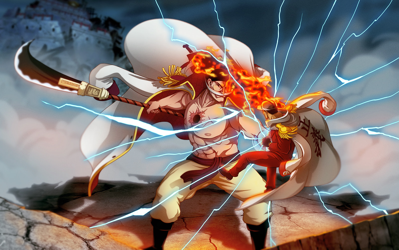 One Piece Images Whitebeard Vs Akainu Hd Wallpaper And Background