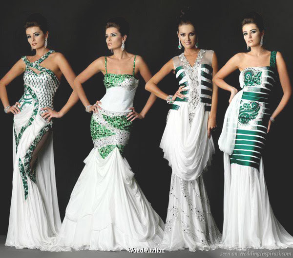 Bintou's Blog: White And Green Wedding Dresses Give The