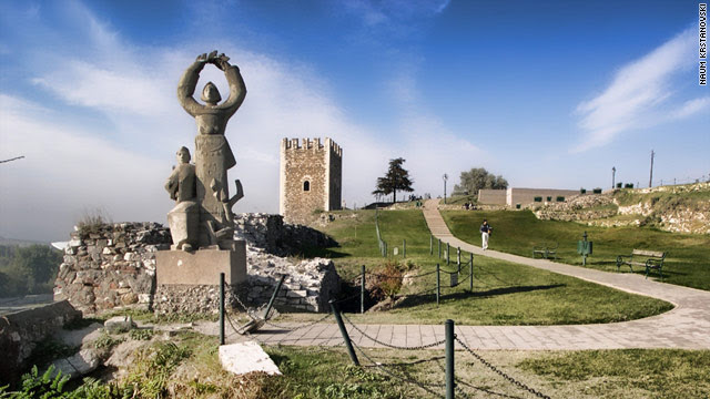 A statue presides over Kale fortress enjoying the highest vantage point in the Macedonian capital of Skopje.