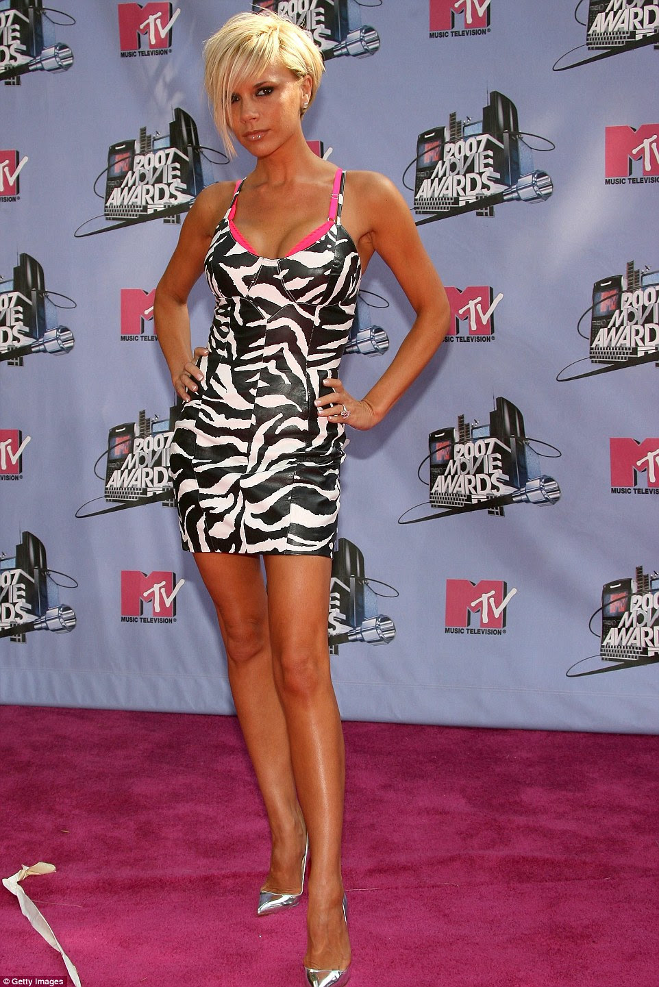 When the Beckhams relocated to LA in 2007, Victoria failed to impress in this trashy zebra Michael Hoban minidress
