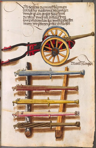 wheel-mounted cannon and selection of cannon barrels
