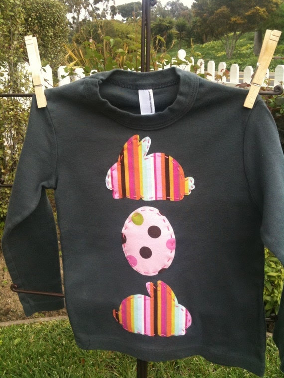 Handmade Whimsical Easter Bunnies and Easter Eggs Applique...Baby, Toddler and Kids Shirt...Sizes 3-6 Months, 6-12 Months, 12-18 Months, 18-24 Months, 2T, 4T, 6T, 8, 10, 12