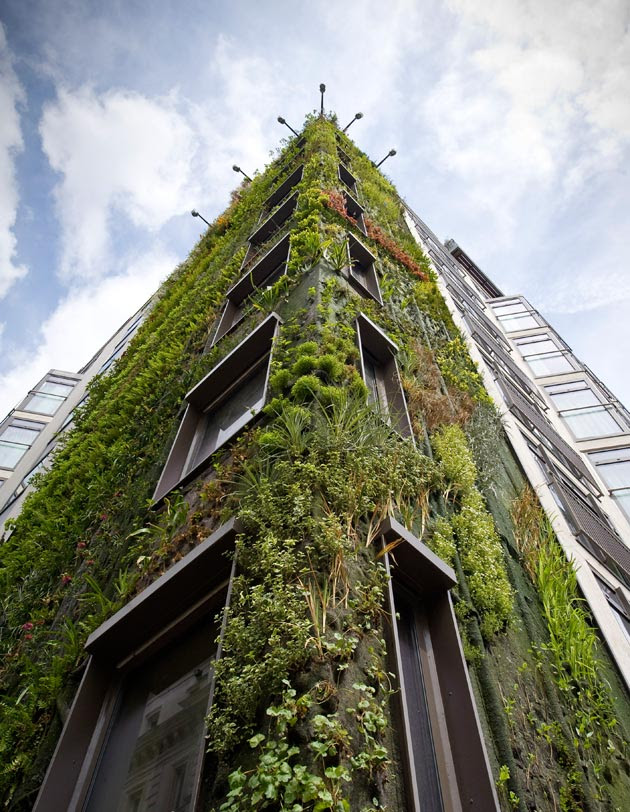 """An eight-story antigravity forest composed of 12,000 plants"""