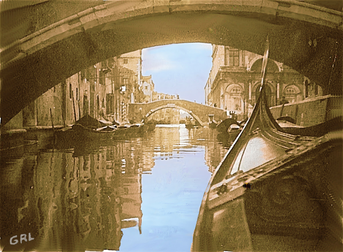 Venice 2b Photo Original Multimedia Painting Fine Art. $13 to $24 small, medium-size, prints. Free downloads, wallpaper, GrlFineArt. Fine art work. These art works are based on my own original black and white photos, taken back in the 1950's.  For fine art decor, fineart, europe, 1950, italy, venice, gondola; photograph, multimedia classical traditional modern acrylic oil painting paintings prints.