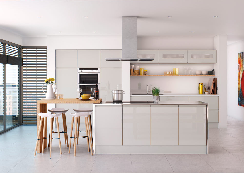 High Gloss Handleless Kitchen Collection White Light Grey Dark Grey Cream