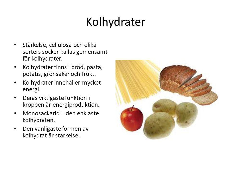 i vilken mat finns kolhydrater
