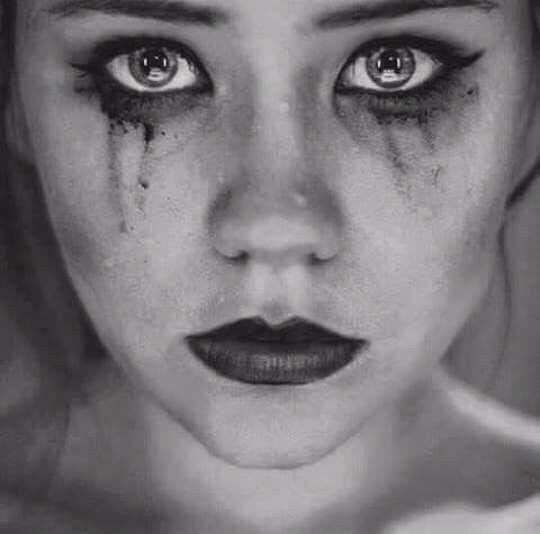 Makeup smeared eyes