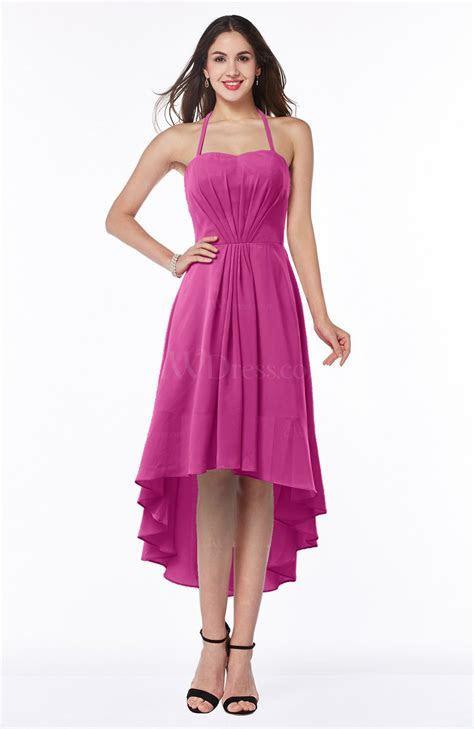 Hot Pink Casual A line Sleeveless Zip up Chiffon