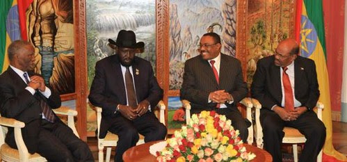 African Union mediator and former South African President Thabo Mbeki wih Presidents Silva Kiir of South Sudan and Omar Hassan al-Bashir of the Republic of Sudan in Ethiopia for peace talks. They have agreed to establish a demilitarized zone. by Pan-African News Wire File Photos