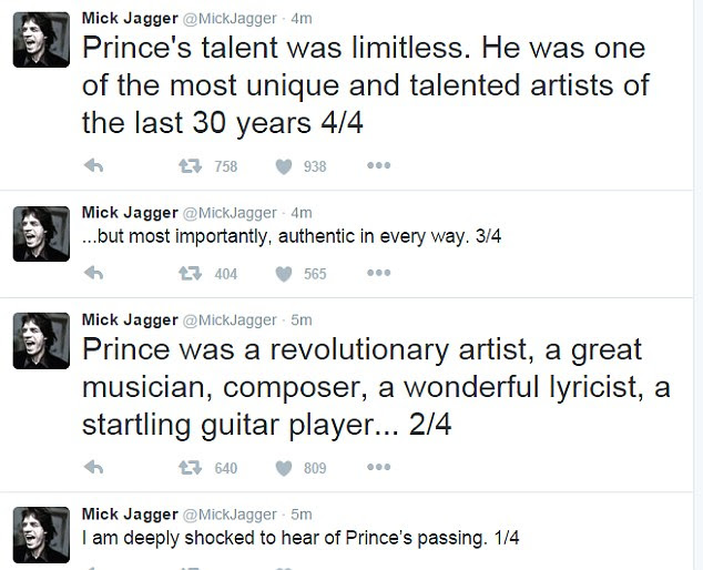 Mick Jagger didn't hold back in his praise for the artist, who in a dispute with record label Warner Bros. in 1993 changed his name to an unpronounceable symbol