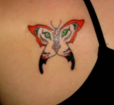 Scary Tiger Butterfly Tattoo Design By Artist