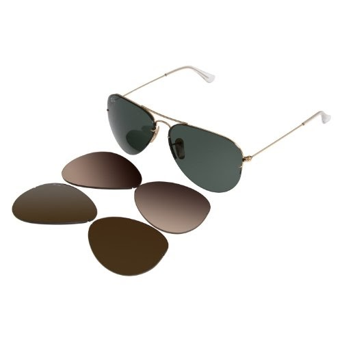 5b6b475683 Wangthong  New Ray Ban RB3460 001 71 Aviator Flip Out  Arista Interchangeable Lens 59mm Polarized Sunglasses