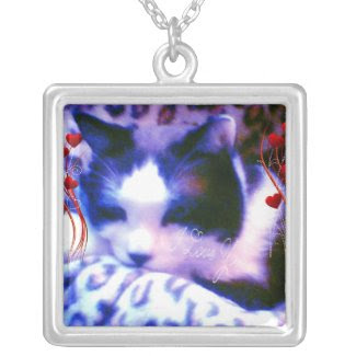 snowshoe Valentines I love you Kitty Square Pendant Necklace